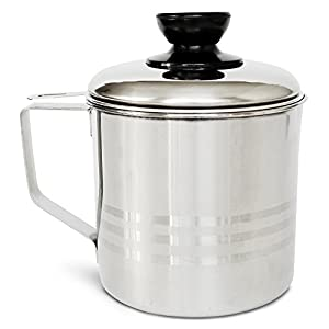 Nellam Grease Container with Separator, Includes Bonus Sponge and Towel - Durable Bacon Cooking Oil Strainer and Cooking Grease Can for Reusing Oil Stainless Steel