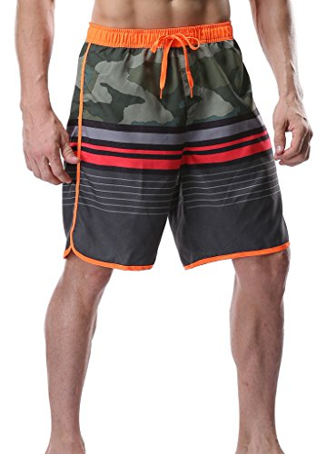 Attraco Men's Board Shorts Stripe Print Summer Swim Surf Trunks Orange 36