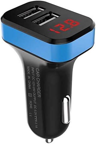 速い車の充電器、デュアルQC3.0ポートUSB車の充電器急速充電すべての電圧表示車の充電アダプタの互換性 (Color : Blue)