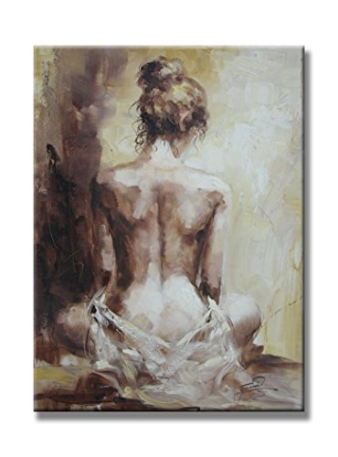 Sunflower Art Sexy Nude Girl Naked Lady Back Figurative Paintings Oil on Canvas 100% Handpainted Canvas Oil Paintings Wood Stretched Home Decor Ready To Hang