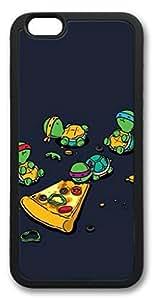 E-luckiycase Teenage Mutant Ninja Turtles TMNT Eating Pizza Case for iPhone 6 Plus (5.5Inch) TPU Material Black