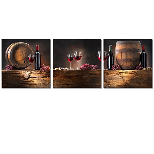 Barnyard Designs Wine Cellar: Huge 24'' x 72'' Framed 3 Panel Canvas, Ready to Hang - Wall Art for Home Decoration by Warm Art 888