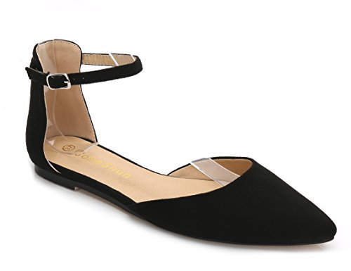 ComeShun Womens Shoes Black Buckle Flats Adjustable Slingback D'Orsay Pumps Size 8