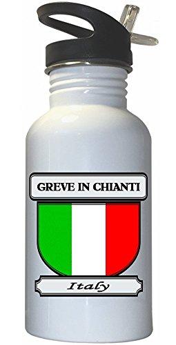 Chianti Straw Bottle (Greve in Chianti, Italy (Italia) City White Stainless Steel Water Bottle Straw)