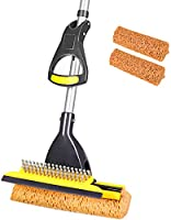 Yocada Sponge Mop Home Commercial Use Tile Floor Bathroom Garage Cleaning with Total 2 Sponge Heads Squeegee and...