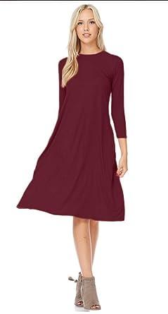 48a22170c446 Tabeez Women s Loose 3 4 Sleeve A Line Below Knee Trapeze Jersey Midi Dress