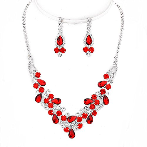 [Sparkling Red Clear V-Shaped Affordable Prom Bridesmaid Silver Evening Necklace Earrings Set] (Affordable Costumes)