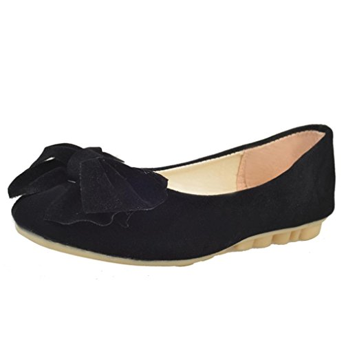 Amiley Womens Casual Cute Pom Pom Slip Spring Ballet Slip Loafers Shoes Peas Shoes Black