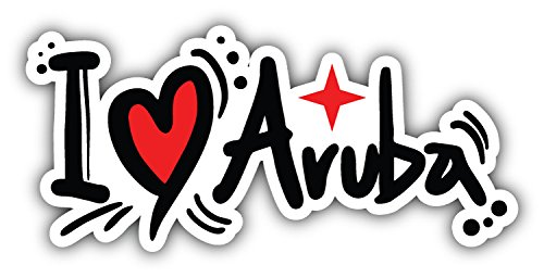 - I Love Aruba Slogan Art Decor Bumper Sticker 6'' x 3''