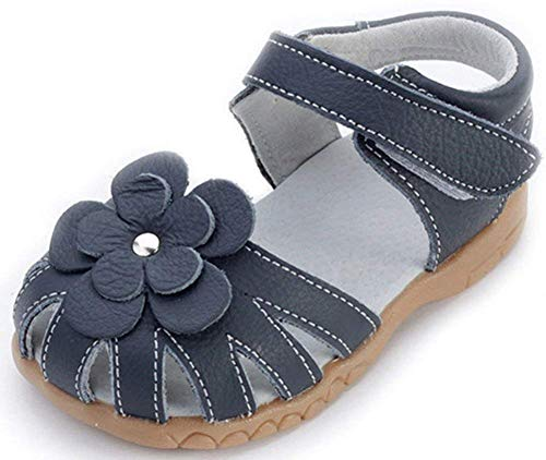 Femizee Girls Genuine Leather Soft Closed Toe Princess Flat Shoes Summer Sandals(Toddler/Little Kid),Deep Blue,1504 CN27