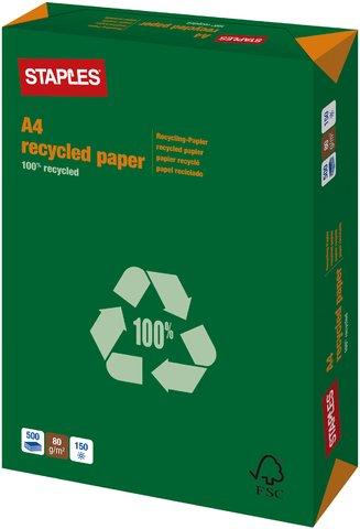 Staples Recycling Papier 100% weiß A4 80g 500 Bl