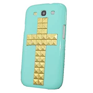 For Samsung Galaxy S3 SIII i9300 Green Studded Christian Cross hard Case Cover