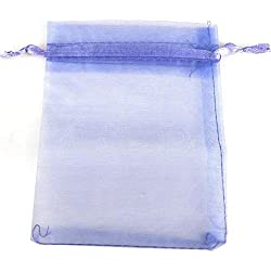100Ps Jewelry Gift Organza Bags Wedding Favors Candy Pouches Home Party Decoration,Violet Lilac
