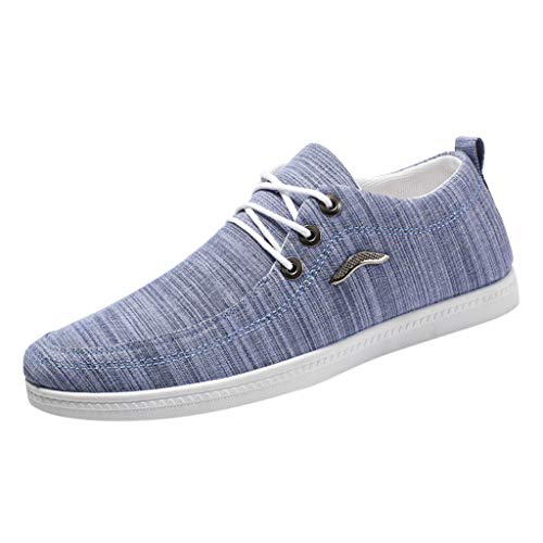 (Men's Fashion Sneaker Canvas Casual Lace-Up Shoes Low Top Skate Shoes Lazy Shoes Breathable Board Shoes Light Blue)