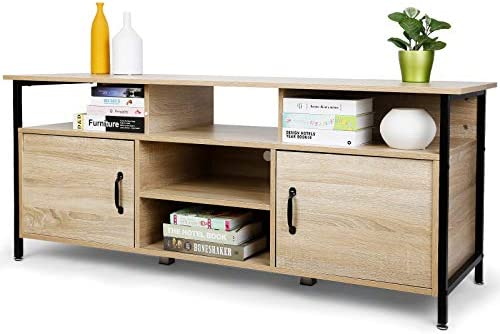 """TUSY TV Stand for TVs up to 65"""", Entertainment Center with Two Doors and Storage Shelves, Metal Frame and Engineered Wood, Natural Wood-Grain"""