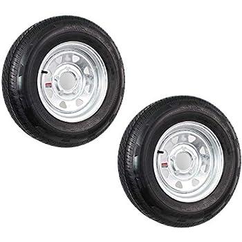 Two Trailer Tires On Rims ST175//80D13 175//80 D 13 B78-13 5 Lug Chrome Mod Rivets