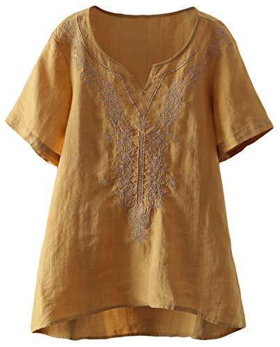 Mordenmiss Women's Embroidered Blouse Tunic V-Neck Linen Tops Short Sleeve Hi-Low Hem Shirt (XXL,Yellow)
