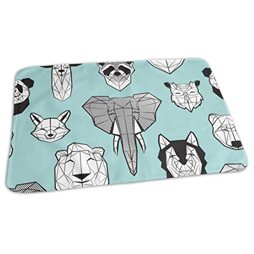 (Friendly Geometric Animals Scale Aqua Background Black and White Deers Bears Foxes Wolves Elephants Raccoons Lions Owls and Pandas Baby Portable Reusable Changing Pad Mat 19.7X 27.5 inch )