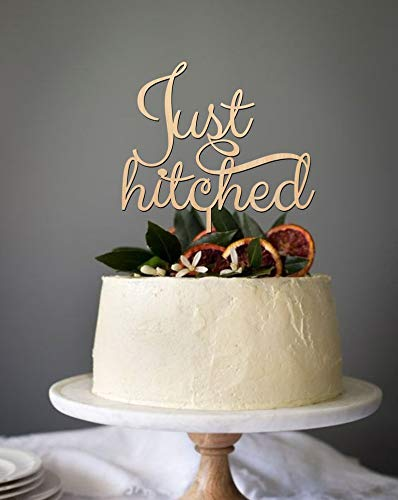 Just hitched cake topper, wedding cake topper, cake topper for wedding, wooden cake topper, rusric cake topper, gold or silver cake topper