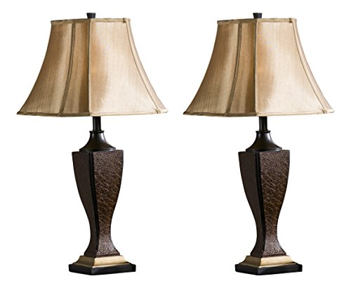 InRoom Designs L632 Kings Brand Crackle Fabric Shade Table (Set of 2 Lamps), Brown by InRoom Designs