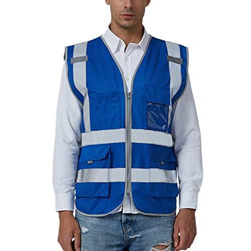 (iYYVV Men Road Work High Visibility Pullover Sleeveless Jacket British Suit Vest Tops Dark)