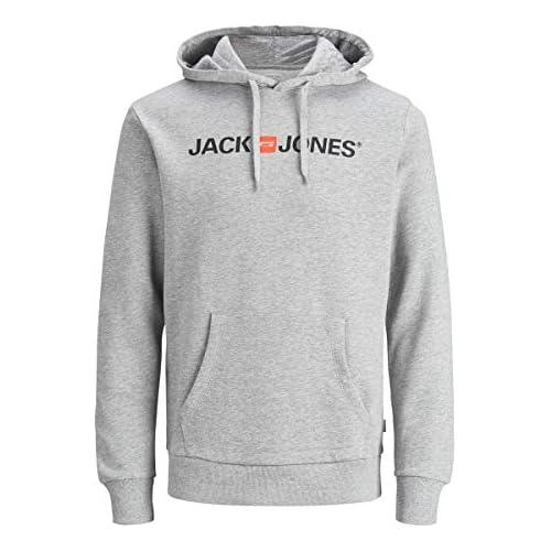 chollos oferta descuentos barato Jack Jones Jjecorp Logo Sweat Hood Noos Capucha Gris Light Grey Melange Detail Reg Fit Melange X Large para Hombre