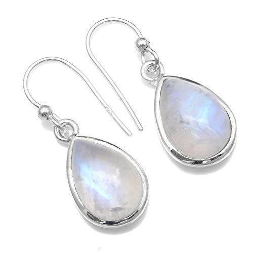 Silver Palace 925 Sterling Silver Natural Rainbow Moonstone Dangle Earrings for Women