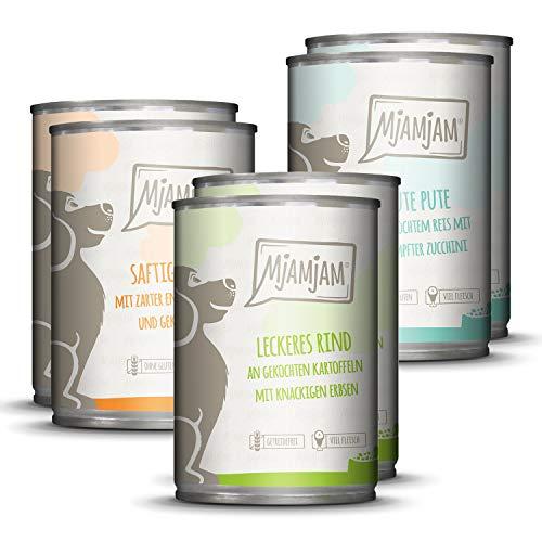 MjAMjAM – Premium Nassfutter für Hunde – Mixpaket 1 – Huhn & Ente, Rind, Pute, 6er Pack (6 x 400 g), getreidefrei mit…