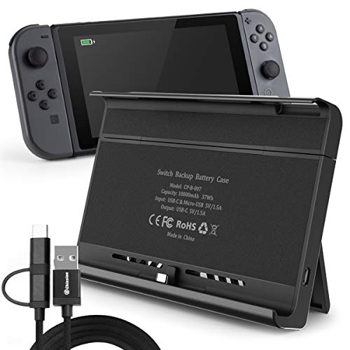 10000mAh Nintendo Switch Battery Pack Charging Hard Case Stand Dock, Switch NS NX Portable Backup Power Bank Charger Kickstand with Adapter Function.