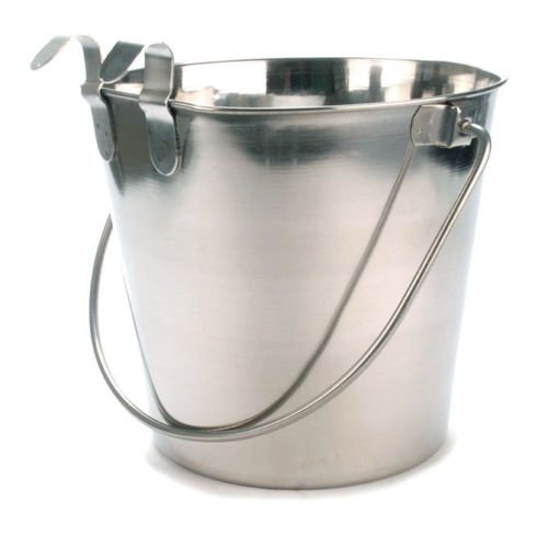 Bonka Bird Toys 800106 Stainless Steel 1 Quart Flat Sided Food Water Bucket Pail Dog Kennel Farm Bowl Buckets Dogs Toy Crate Large Bowls Kennels Pails Pet by Bonka Bird Toys