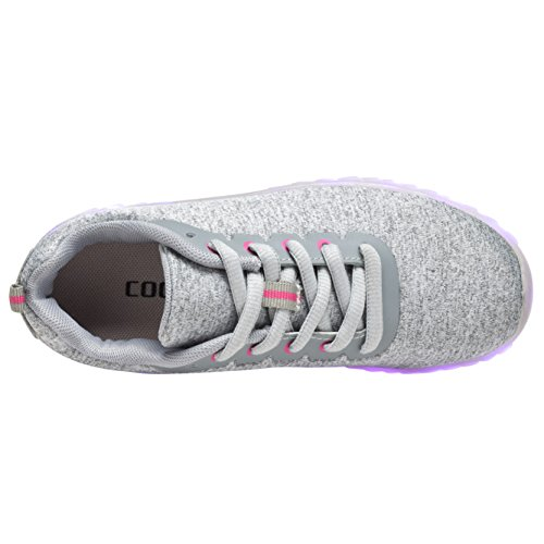 Coodo Uomo Donna Bambini Scarpe Led 7-colore-luci Usb Ricarica Sneakers 5-grigio