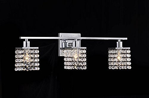 3-light Chrome Finish Square Crystal Shade Wall Sconce by EDVIVI