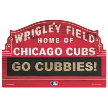 (MLB Chicago Cubs 11-By-17-Inch Go Cubbies Wood Sign)