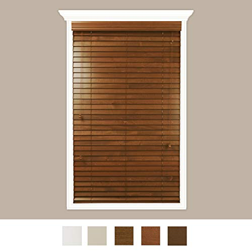 Luxr Blinds Custom-Made Real Wood Horizontal Window Blinds with Easy Inside Mount – 32″ x 72″ – 2″ Wooden Slats – Premium Quality Basswood – Red Oak