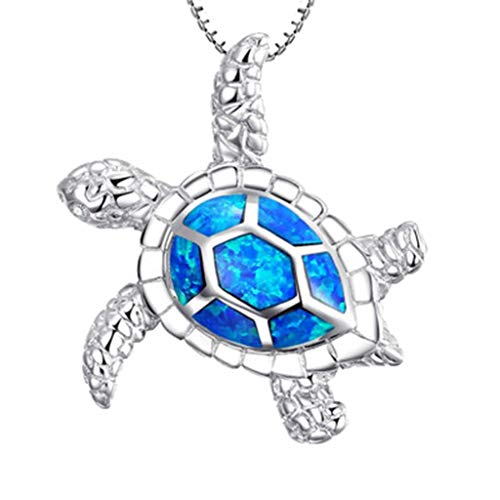 Bohemian Beach Pendant Necklace,Crytech Dainty Sterling Silver Ocean Animal Rhinestones Turtle Fishtail Seastar Dolphin Leaf Owl Charm Tennis Box Chain Necklace for Women Ladies Gift (Turtle)