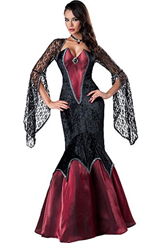 [Seakoody Women Deluxe Lace Bell Cold Sleeve Mermaid Sexy Elegant Glamour Halloween Costume] (Popular Female Halloween Costumes 2017)