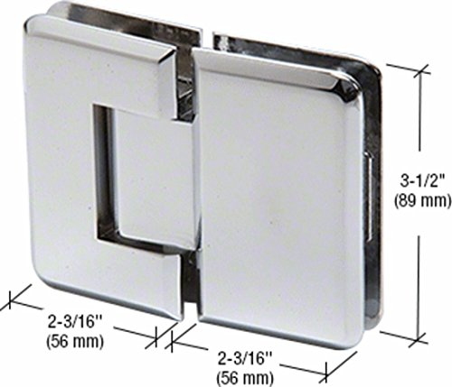 CRL Chrome Pinnacle 180 Series 180 Degree Glass-to-Glass Standard Hinge by CR Laurence