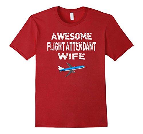 Red Air Hostess Costume (Mens Flight Attendant Wife T Shirt Gift Air Hostess Shirt XL Cranberry)