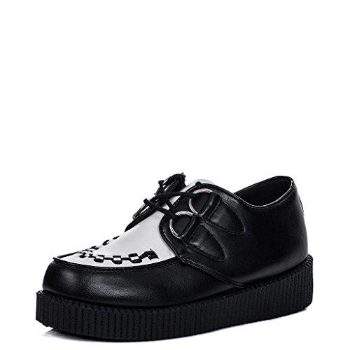 Planos SPYLOVEBUY Negro Sintético Cuero Cordone Creeper Zapatos Mujer Blanco JOSEPHINE Plataforma 0prwpIq