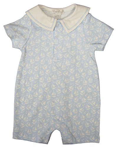 Kissy Kissy Baby-Boys Infant Gone Sailing Print Short Playsuit With Collar-Light Blue-6-9 ()