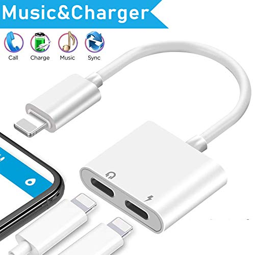 Headphone Adapter for iPhone 8 Adapter AUX Audio Jack Adapter for iPhone X Dongle Splitter [Audio+Charge+Volume Control+Call ] Dual Earphone Cable Converter for iPhone XR/XS/7 Plus Support iOS 13