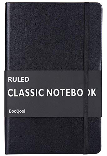 Ruled Notebook/Journal - Premium Thick Paper Faux Leather Classic Writing Notebook, Black, Hard Cover, Lined (5.4 x 8.3)