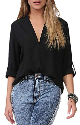 Mode Unique Tops V Manches Longues breal Mode Chemisiers Mousseline Printemps Shirt Schwarz lgant Bandage Jeune Impression Femme Et Modle Casual Chemisier Button Cou U5xgwqC