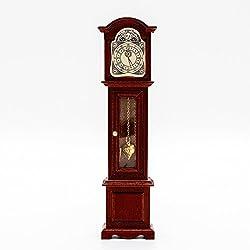Odoria 1:12 Miniature Vintage Grandfather Clock Floor Pendule Dollhouse Decoration Accessories