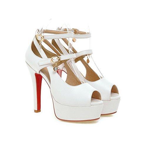 Adee Womens High-Heels Eep-Toe Solid Polyurethane Sandals White M31bgafPBE