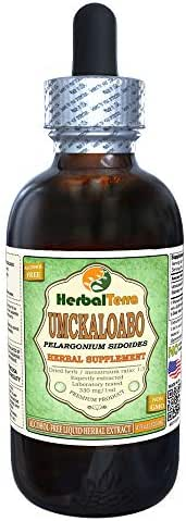 Umckaloabo (Pelargonium Sidoides) Glycerite, Dried Roots Alcohol-Free Liquid Extract (Brand Name: HerbalTerra, Proudly Made in USA) 4 fl.oz (120 ml)