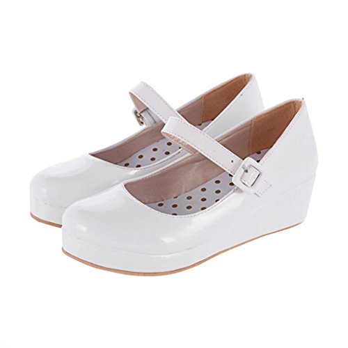 Chers Temps Femmes Douces Simples Sangle En Cuir Chaussures Blanches