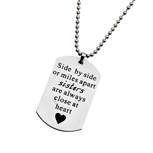 Side by Side or Miles Apart Sister Dog Tag Necklace (Dogtag necklace S) -