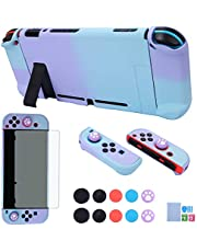 Dockable Case for Nintendo Switch - COMCOOL 3 in 1 Protective Cover Case for Nintendo Switch and Joy-Con Controller with Screen Protector and Thumb Grips - Purple and Cyan