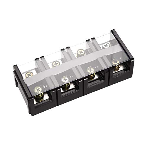 uxcell Barrier Terminal Block 600V 100A 4 Positions Dual Rows Screw Terminals 5 Pcs ()